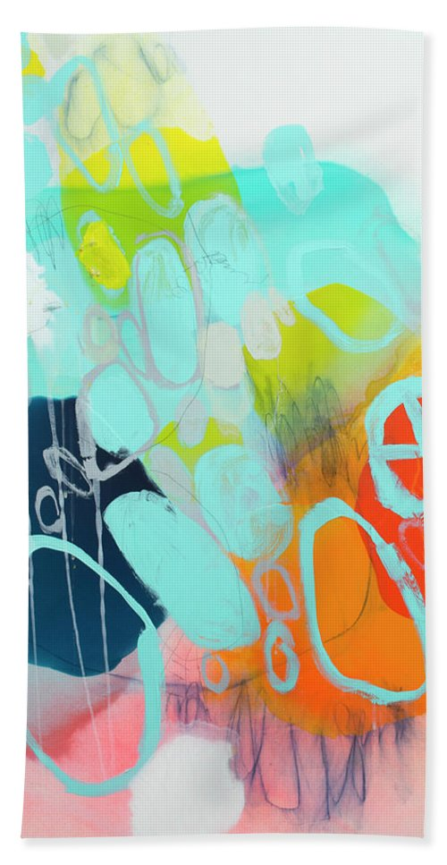 Abstract Bath Towel featuring the painting The Right Thing by Claire Desjardins