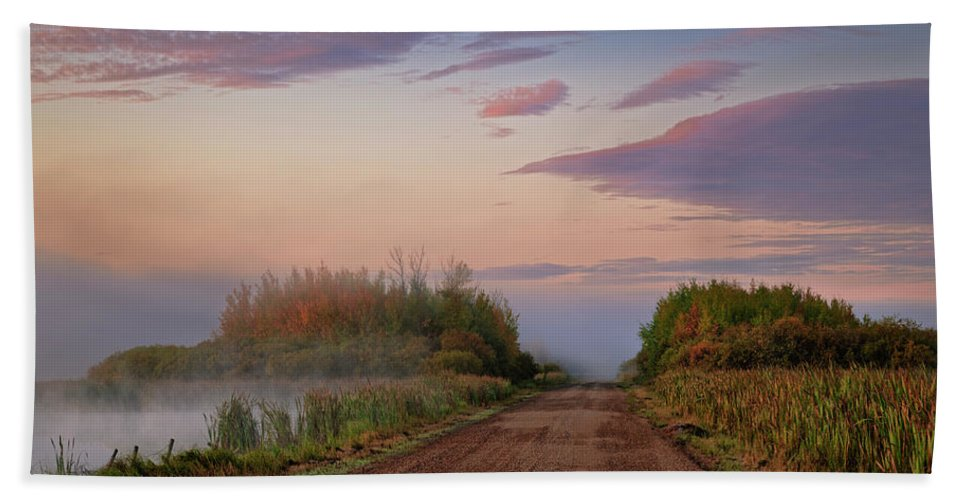 Road Bath Towel featuring the photograph The Road Through The Swamp by Dan Jurak