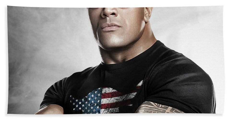 The Rock Bath Towel featuring the photograph The Rock Dwayne Johnson I I by Movie Poster Prints