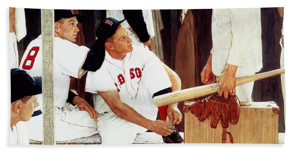 Baseball Bath Towel featuring the drawing the Rookie by Norman Rockwell