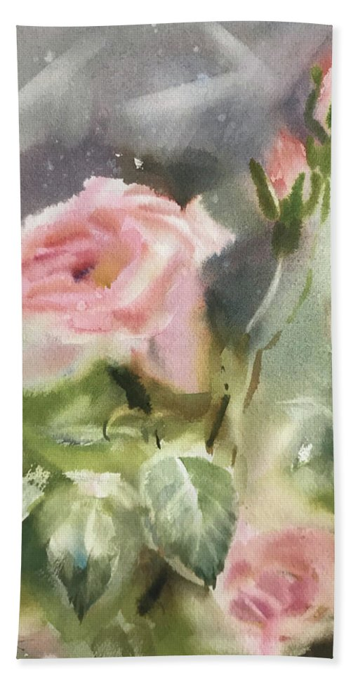 Bath Sheet featuring the painting The Rose From A Misty Appalachia by Tatsiana Harbacheuskaya