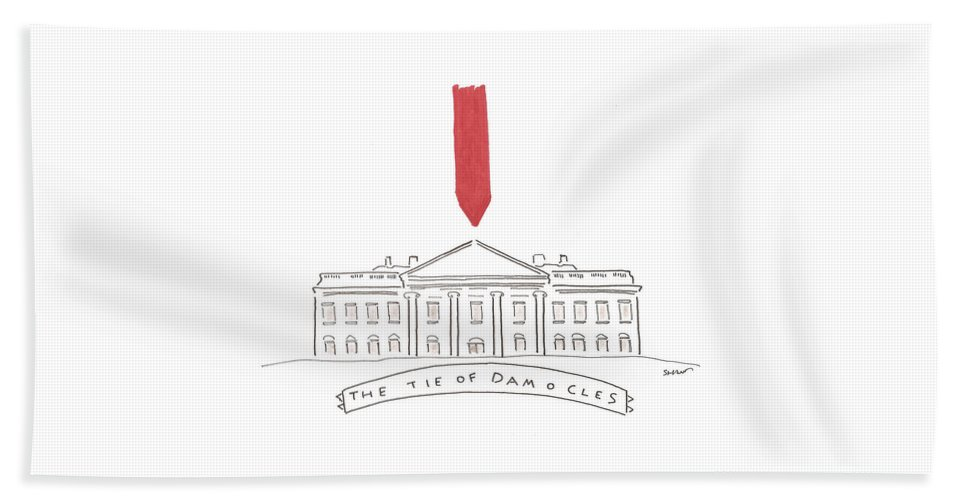 Captionless Bath Sheet featuring the drawing The Tie Of Damocles by Michael Shaw