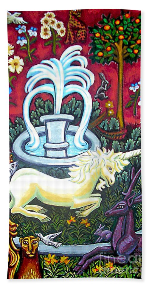 Unicorn Tapestries Hand Towel featuring the painting The Unicorn And Garden by Genevieve Esson