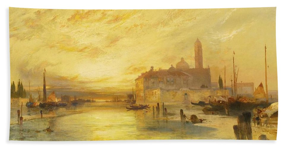 Nature Bath Towel featuring the painting Thomas Moran 1837-1926 Sunset In Venice by Thomas Moran