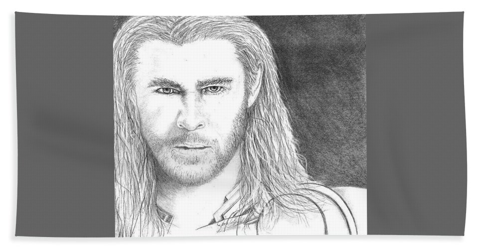 Portrait Bath Sheet featuring the drawing Thor by Jennifer Campbell Brewer