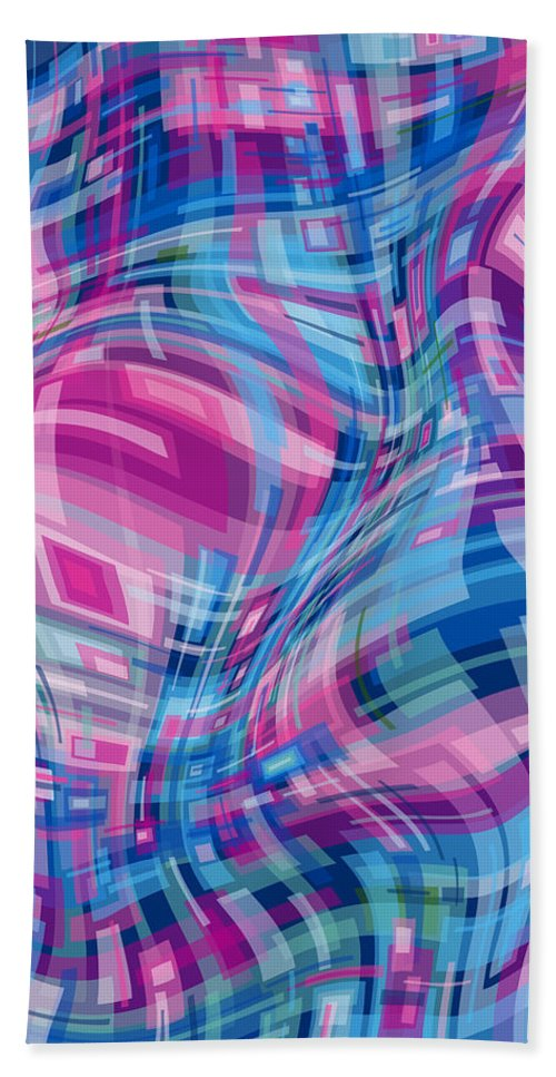 Nonobjective Bath Towel featuring the digital art Thought Patterns - Warped #1 by James Fryer