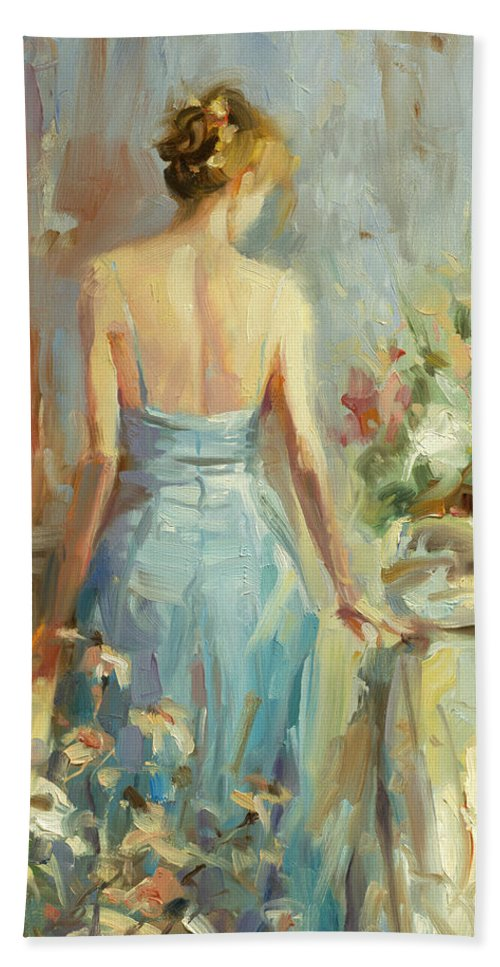 Woman Bath Towel featuring the painting Thoughtful by Steve Henderson