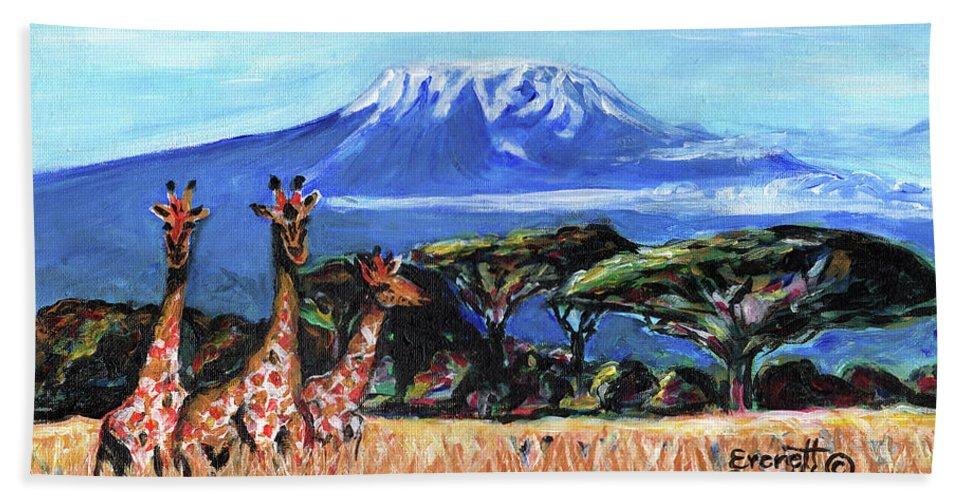 Everett Spruill Bath Towel featuring the painting Three Giraffes by Everett Spruill