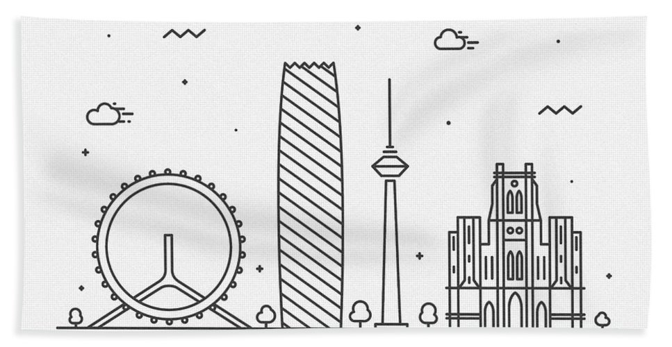 Tianjin Bath Towel featuring the drawing Tianjin Cityscape Travel Poster by Inspirowl Design