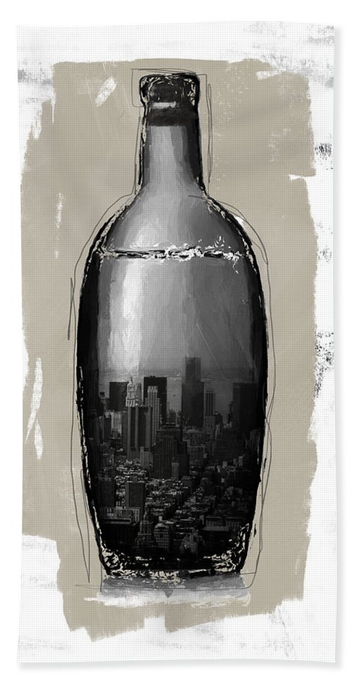 Bottle Bath Towel featuring the mixed media Time In A Bottle 2- Art By Linda Woods by Linda Woods