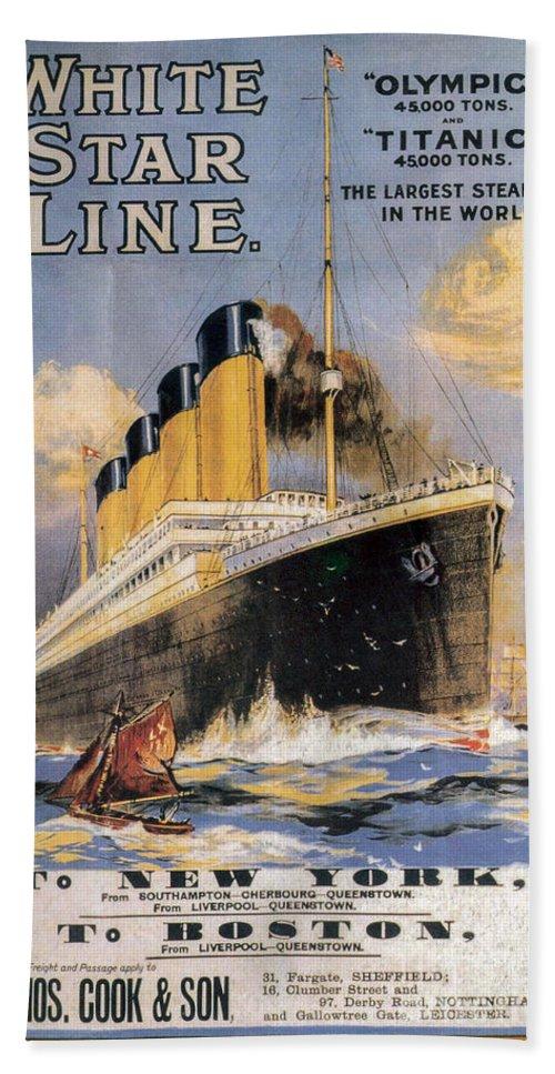 Titanic Advertising Poster Bath Towel featuring the photograph Titanic Advertising Poster by Jon Neidert