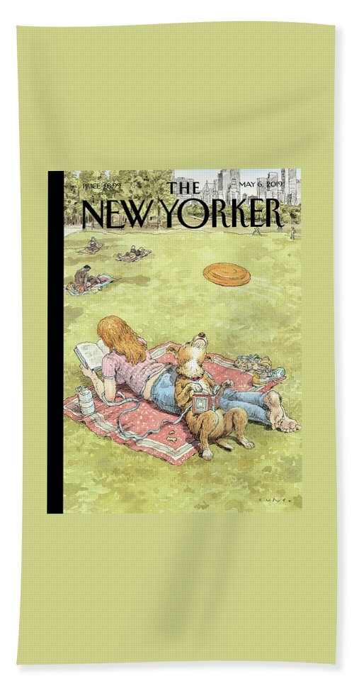 To Fetch Or Not To Fetch Bath Sheet featuring the painting To Fetch Or Not To Fetch by John Cuneo