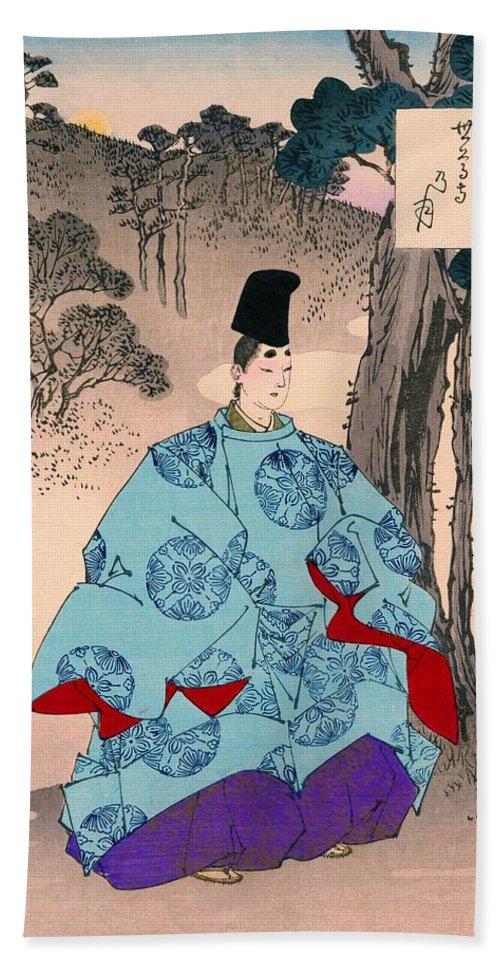 Tsukioka Hand Towel featuring the painting Top Quality Art - Fujiwara Yoshitaka by Tsukioka Yoshitoshi