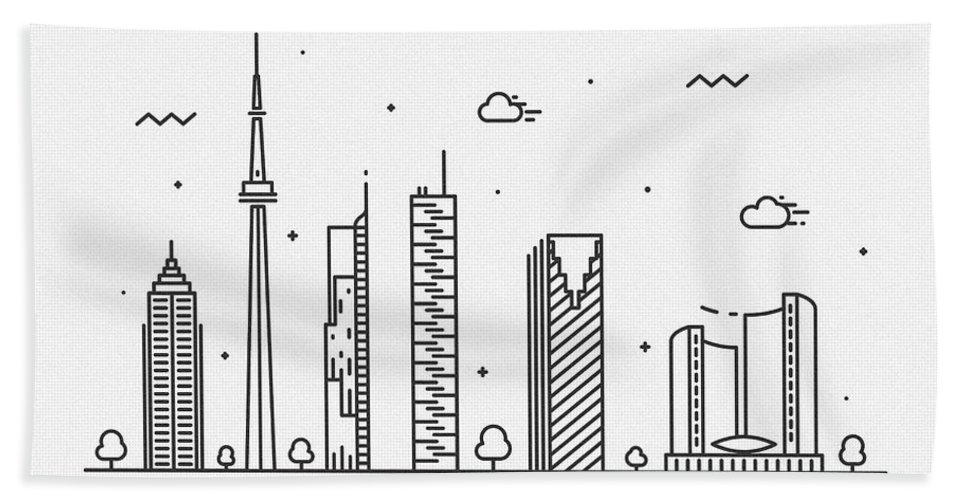 Toronto Bath Towel featuring the drawing Toronto Cityscape Travel Poster by Inspirowl Design