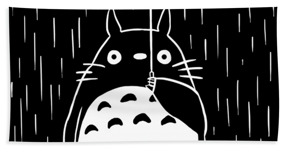 Totoro Bath Towel featuring the painting Totoro by Maca Puth