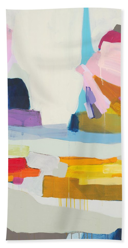 Abstract Hand Towel featuring the painting Towards The Ocean by Claire Desjardins