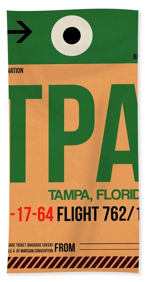 Tampa Bath Towel featuring the digital art Tpa Tampa Luggage Tag I by Naxart Studio