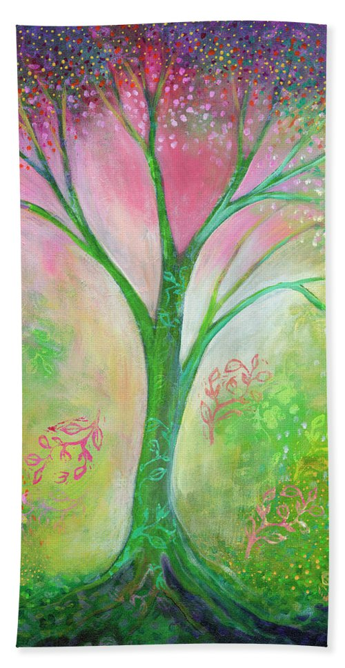 Tree Bath Towel featuring the painting Tree Of Tranquility by Jennifer Lommers