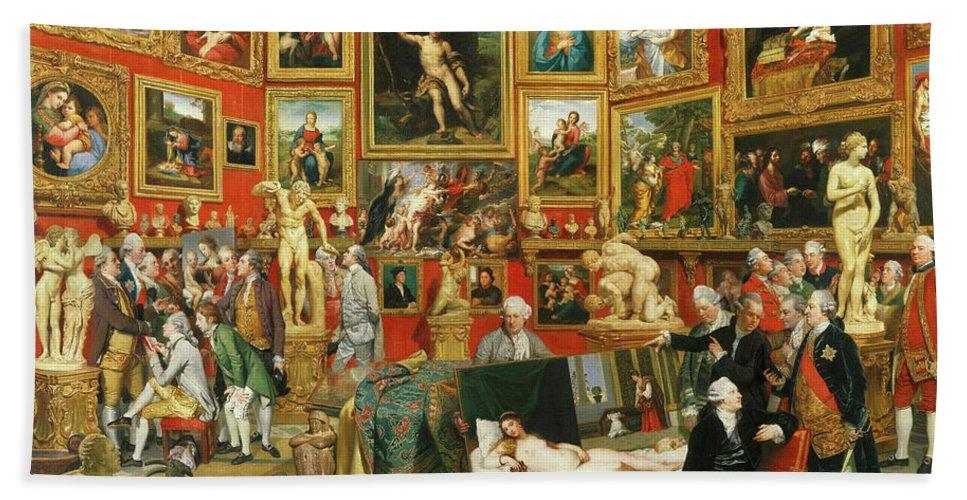 Johan Zoffany Bath Towel featuring the painting Tribuna Of The Uffizi, 1777 by Johan Zoffany