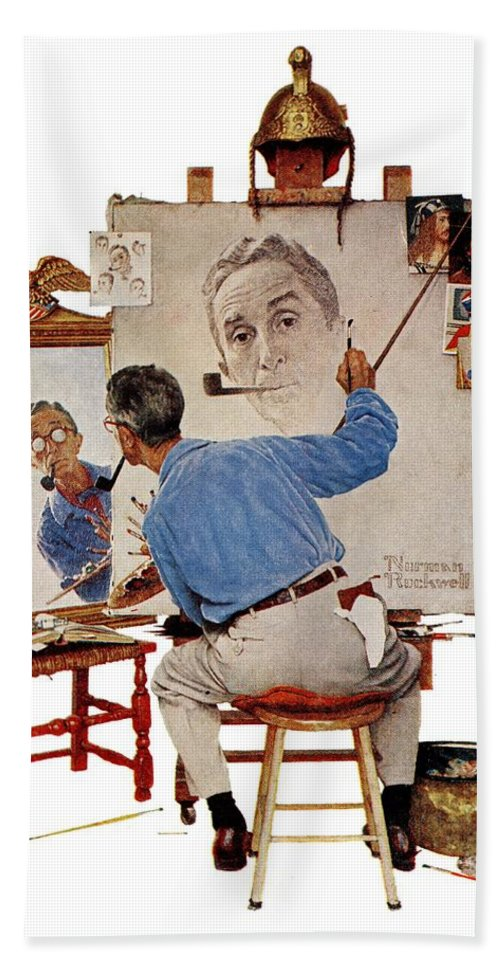 Artists Bath Towel featuring the drawing Triple Self-portrait by Norman Rockwell