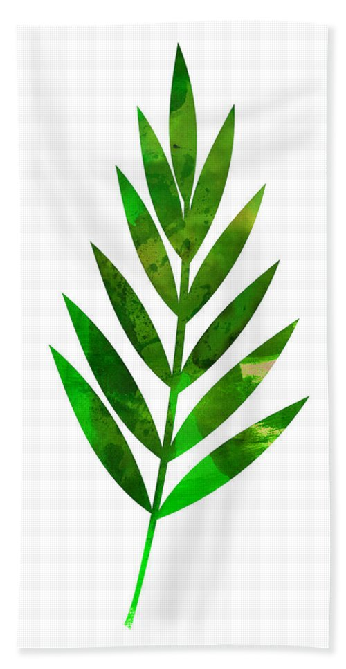 Tropical Leaf Hand Towel featuring the mixed media Tropical Leaf I by Naxart Studio