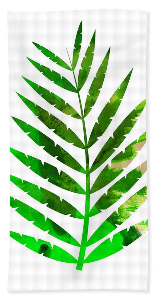 Tropical Leaf Hand Towel featuring the mixed media Tropical Leaf by Naxart Studio