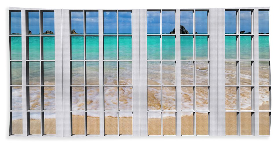 Bermuda Hand Towel featuring the photograph Tropical Paradise Beach Day Windows by Betsy Knapp