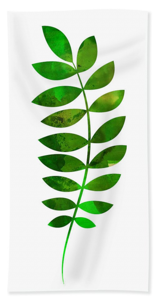 Tropical Leaf Hand Towel featuring the mixed media Tropical Zamioculcas Leaf by Naxart Studio