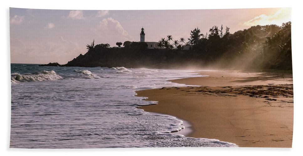 Ocean Bath Towel featuring the photograph Tuna Punta Lighthouse And Beach In Puerto Rico by G Matthew Laughton