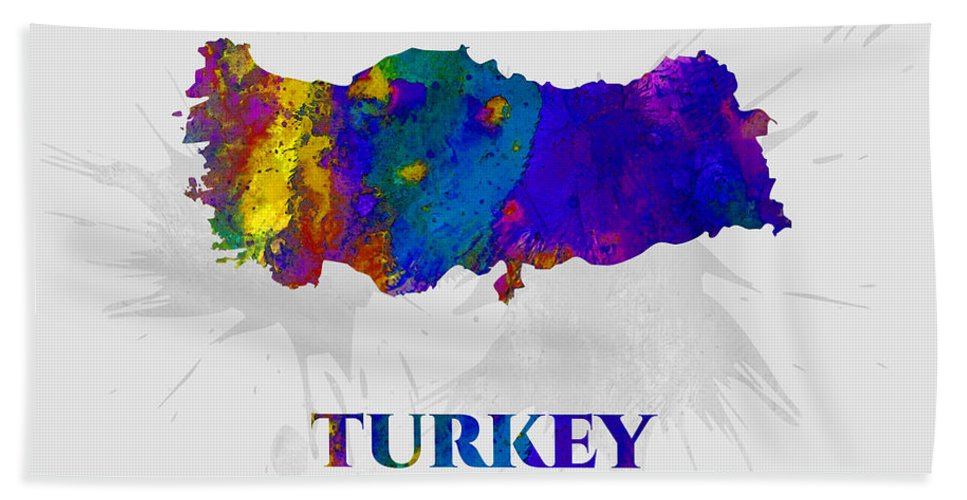 Turkey Bath Towel featuring the mixed media Turkey, Map, Artist Singh by Artist Singh MAPS