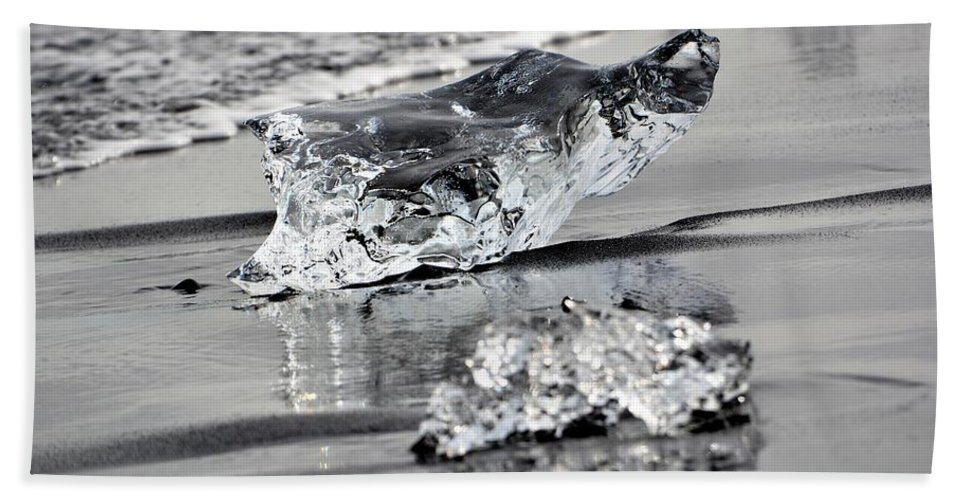 Ice Hand Towel featuring the photograph Two Ice Blocks by Norman Burnham