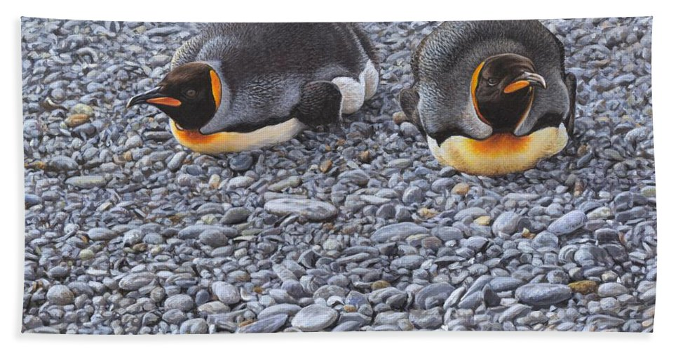 Alan M Hunt Bath Towel featuring the painting Two King Penguins By Alan M Hunt by Alan M Hunt