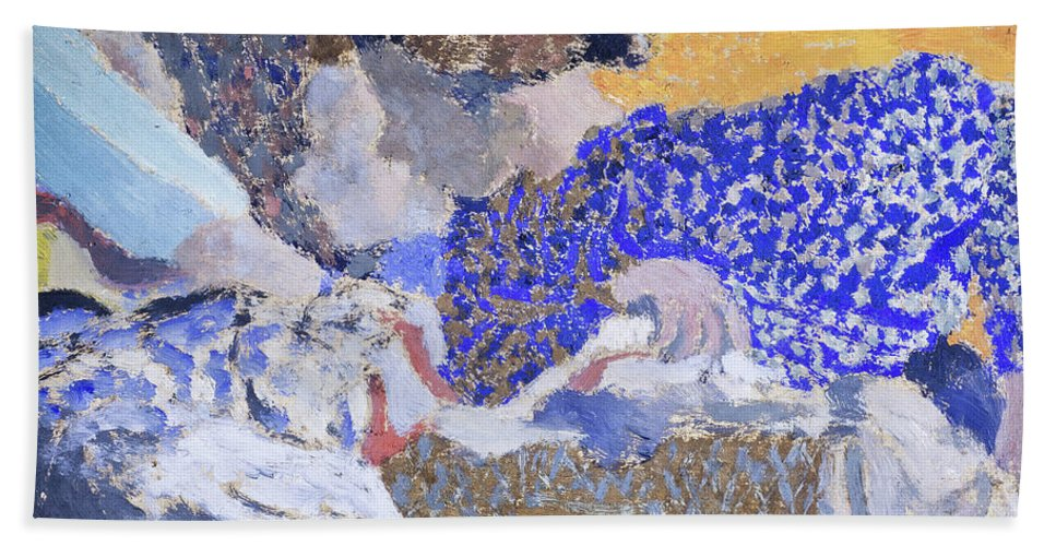 Edouard Vuillard Hand Towel featuring the painting Two Seamstresses In The Workroom - Digital Remastered Edition by Edouard Vuillard