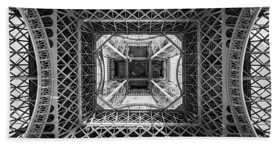 Paris Hand Towel featuring the photograph Under The Eiffel Tower by Delphimages Photo Creations