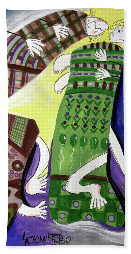 Cubism Bath Towel featuring the painting Unexpected Love by Anthony Falbo