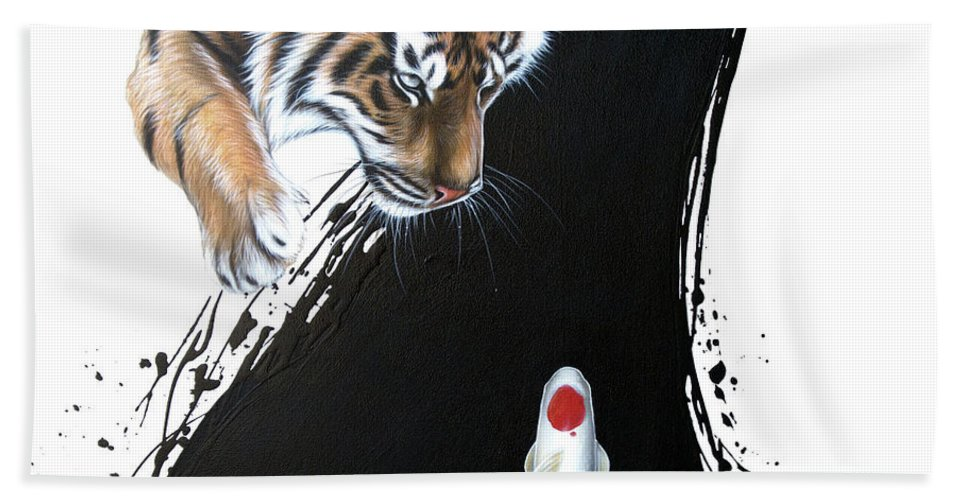 Tiger Hand Towel featuring the painting Untitled tiger with koi by Sandi Baker