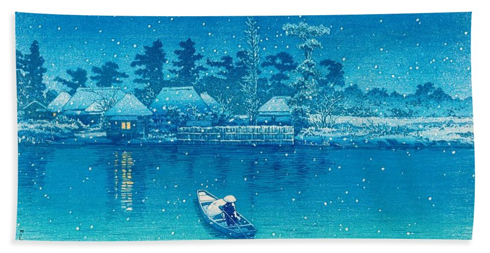Kawase Hasui Bath Towel featuring the painting Ushibori - Top Quality Image Edition by Kawase Hasui