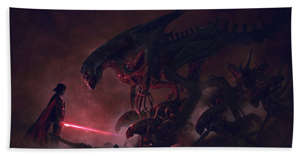 Star Wars Hand Towel featuring the digital art Vader vs Aliens 1 by Guillem H Pongiluppi