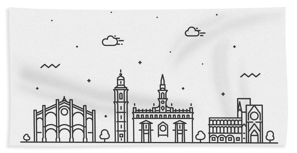 Valencia Bath Towel featuring the drawing Valencia Cityscape Travel Poster by Inspirowl Design