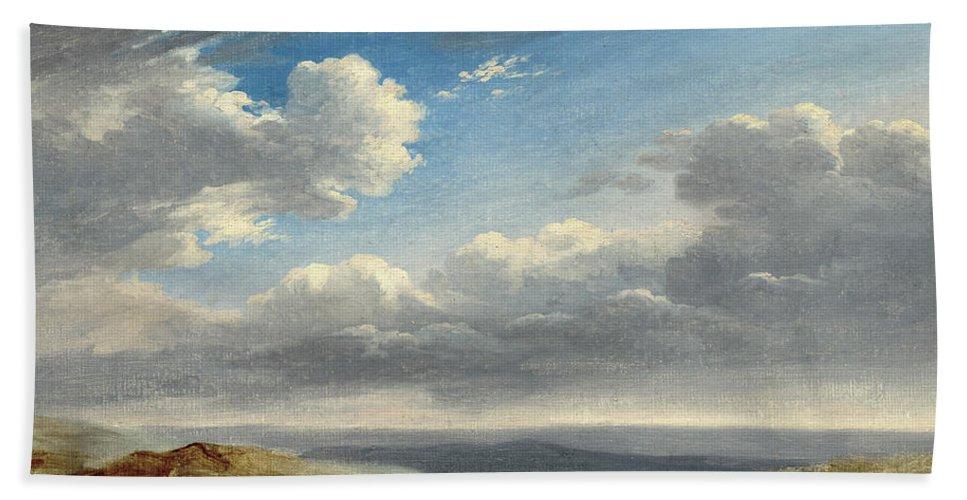 B1019 Bath Towel featuring the painting Valenciennes: Study, C1782 by Pierre-henri De Valenciennes