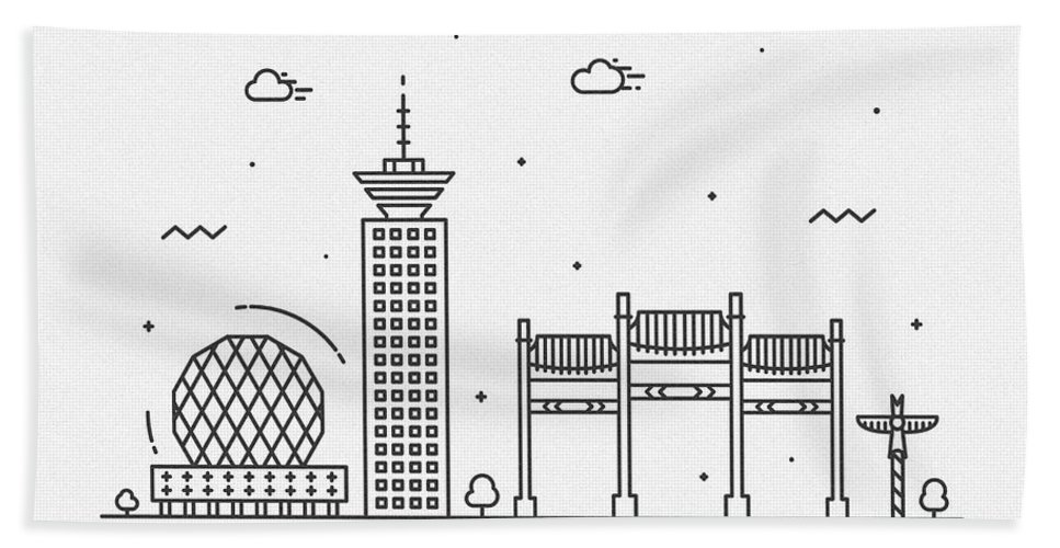 Vancouver Bath Towel featuring the drawing Vancouver Cityscape Travel Poster by Inspirowl Design