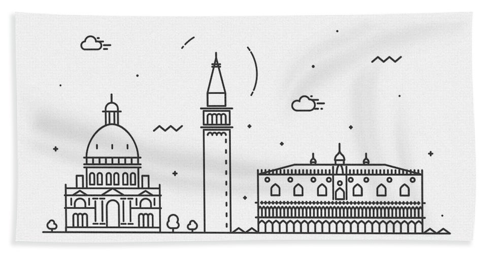 Venice Bath Towel featuring the drawing Venice Cityscape Travel Poster by Inspirowl Design