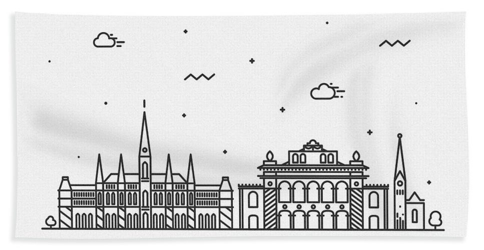 Vienna Bath Towel featuring the drawing Vienna Cityscape Travel Poster by Inspirowl Design