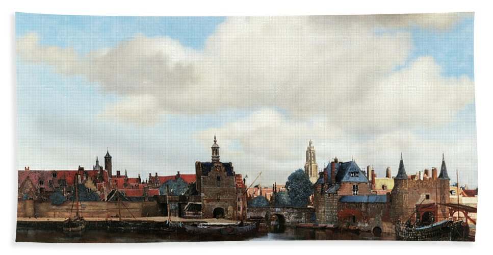 Johannes Vermeer Hand Towel featuring the painting View Of Delft, 1661 by Johannes Vermeer