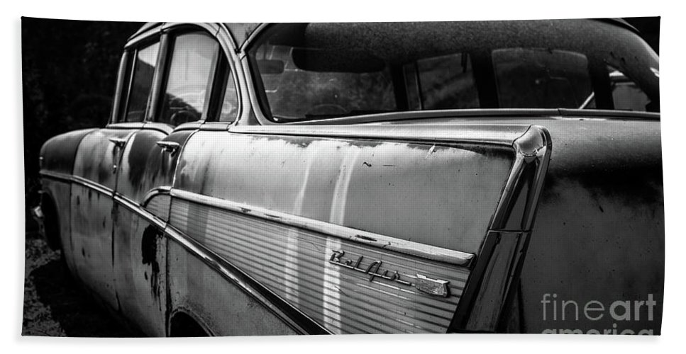Chevy Bel Air Hand Towel featuring the photograph Vintage Chevy Bel Air Black And White by Edward Fielding