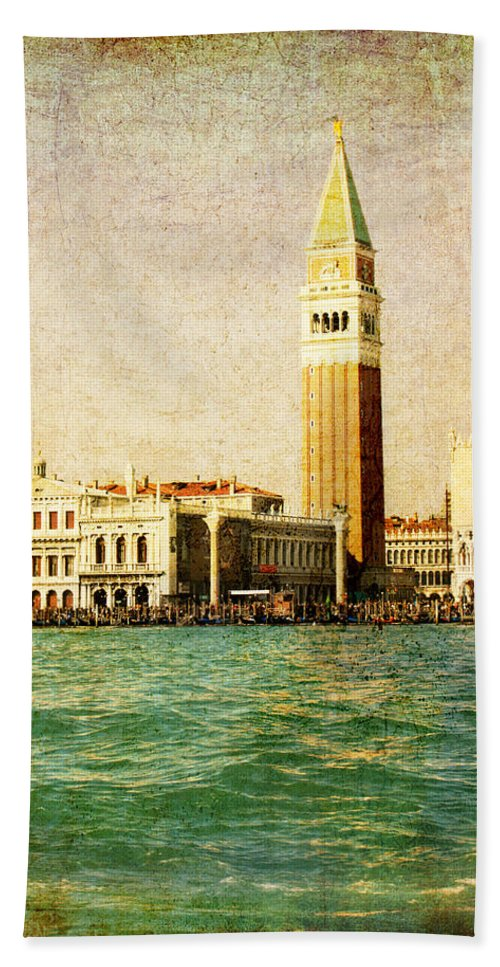 Antique Bath Towel featuring the digital art Vintage Venice, S.marco Square From The Sea by Luisa Vallon Fumi