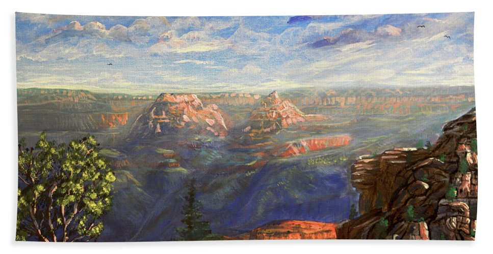 Vishnu Hand Towel featuring the painting Vishnu Temple And Grand Canyon by Chance Kafka