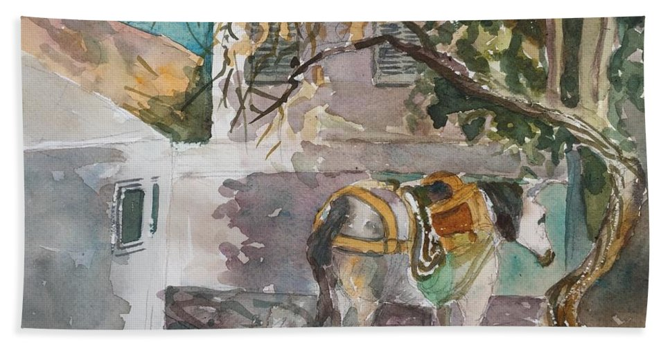 Watercolor Plein Air Greece Landscape Horses Bath Sheet featuring the painting Waiting Near Tetses Studio by Diane Renchler