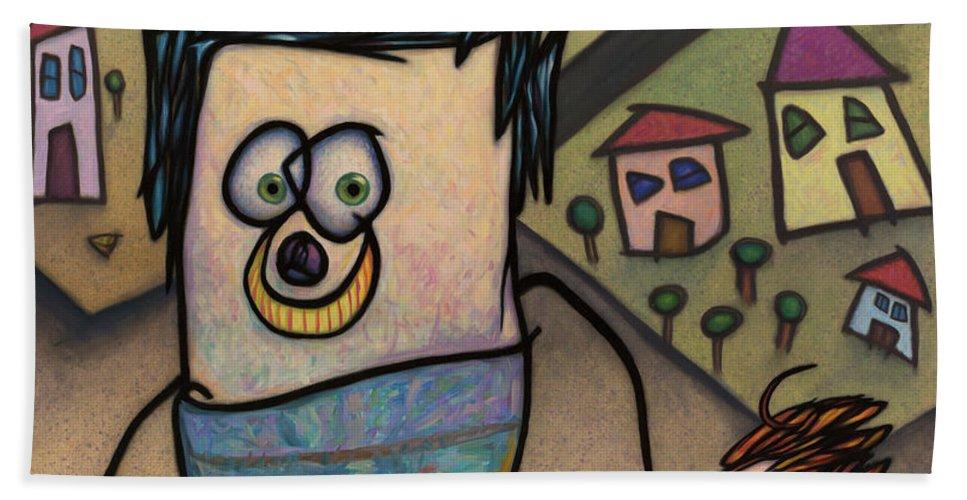 Funny Bath Towel featuring the painting Walkin The Dog by James W Johnson