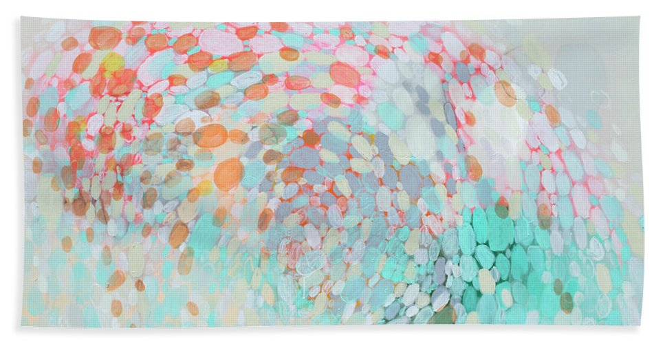 Abstract Hand Towel featuring the painting Want To Go by Claire Desjardins